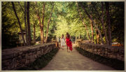 Wedding guests leaving the Tanger Family Bicentennial Garden