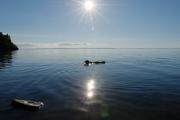 Roxy swimming in lake Vättern near Borghamn