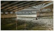 Kayak practice under the bridge in Lyon