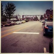 Freight train crossing Elm Street