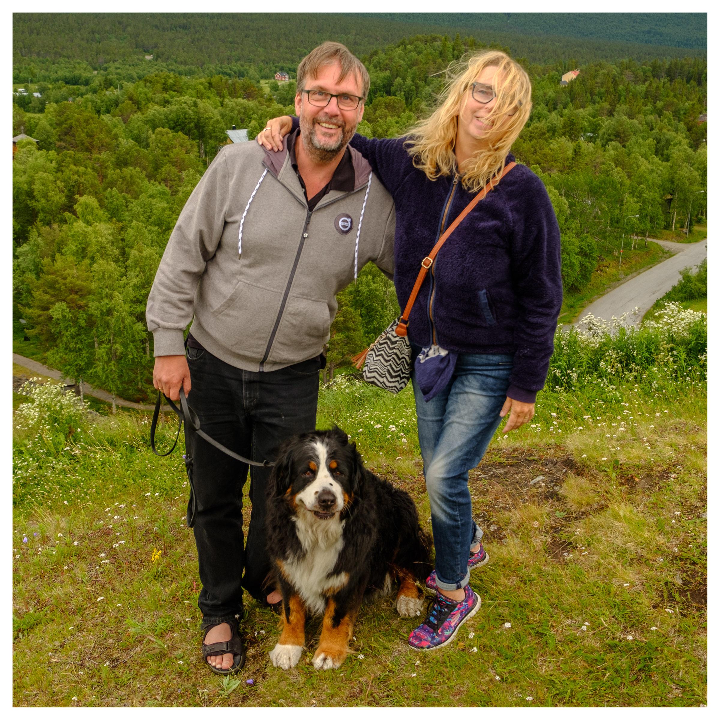Rikard, Roxy and Anna on top of Potato Hill, Ammarnäs