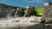 The hydroelectric damm at Nämforsen on Ångermanälven.