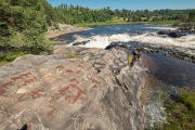 Boats, wolves, bears and raindeer carved 6000 years before the hydroelectric damm at Nämforsen.
