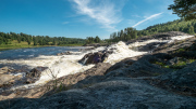 The white water downstream of the hydroelectric damm at Nämforsen.