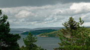 Rain over Ljungkile on the mainland
