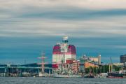 "Göta Älv bridge, the barque ""Viking"", the Skanska ""lipstick"" building, the opera, and the maritime museum."